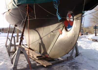 Rudder blisters on 1977 Nicholson 32 sailing yacht