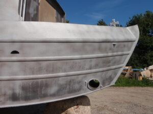 Grit Blasted Narrowboat Bow