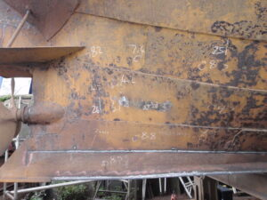 UHP Blasted Iron Hull of a 1915 Humber Barge