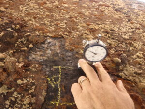 Measuring pit depths on a narrowboat with a Mitutoyo dial depth gauge